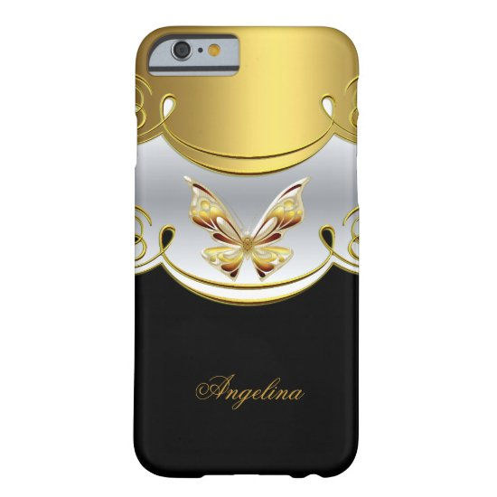 Elegant Classy Gold Black White Butterfly Barely There iPhone 6 Case