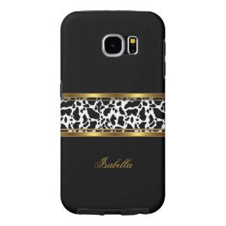 Elegant Classy Gold Black White Cow Samsung Galaxy S6 Case