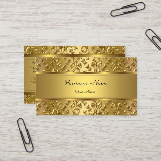 Elegant classy gold damask embossed look business card zazzle elegant classy gold damask embossed look business card reheart Choice Image
