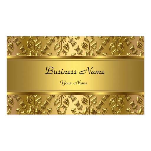 Elegant Classy Gold Damask Embossed Look Double Sided