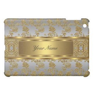 Elegant Classy Gold Damask Floral Silver iPad Mini Cover