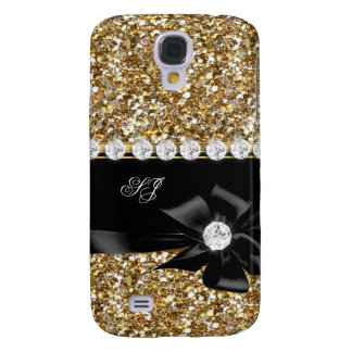 Elegant Classy Gold Glitter Look Monogram Bow Samsung Galaxy S4 Case