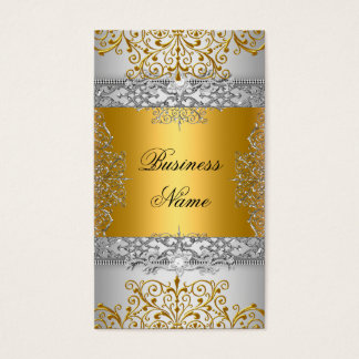 Elegant Classy Gold Lace Silver White Business Card