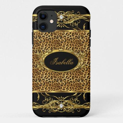 Elegant Classy Gold Leopard Black Phone Case