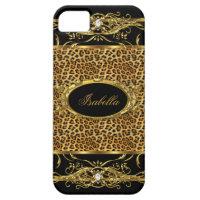 Elegant Classy Gold Leopard Black iPhone SE/5/5s Case