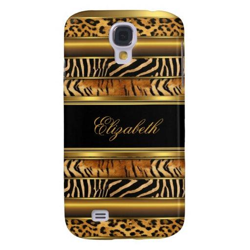 Elegant Classy Gold Mixed Animal Print Samsung Galaxy S4 Cases