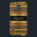 "Elegant Classy Gold Mixed Animal Samsung Galaxy S5 Case For Galaxy S5<br><div class=""desc"">Elegant Classy Gold Black Tiger Zebra Leopard Animal Print Case-Mate Samsung Galaxy S5  Case Fabulous product for Women,  Girls,   Zizzago created this design PLEASE NOTE all flat images! They Do NOT have real Glitter,  Diamonds Jewels or real Bows!!</div>"