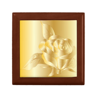 ELEGANT CLASSY GOLD ROSE GIFT BOX