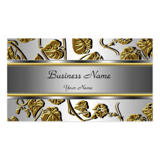 Elegant Classy Gold Silver Embossed Floral Leaf Double-Sided Standard Business Cards (Pack Of 100)
