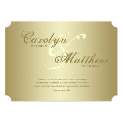 Elegant Classy | Gold Ticket | Wedding Invitation 5