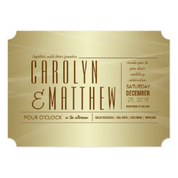 Elegant Classy Gold Wedding Ticket Invitation 5