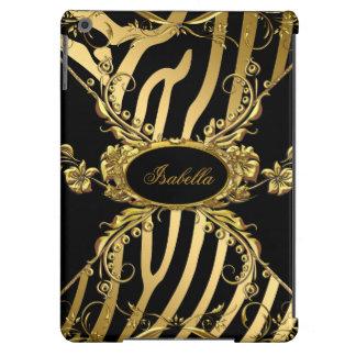 Elegant Classy Gold Zebra Black Floral 3 Case For iPad Air