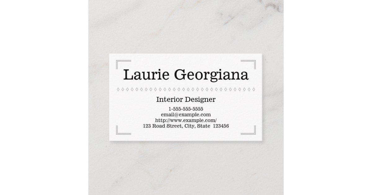 Elegant Classy Interior Designer Business Card Zazzle Com