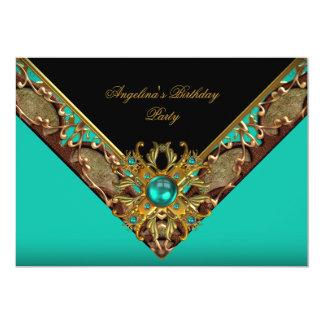 Elegant Classy Jade Black Gold Birthday Party Card