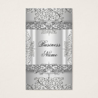 Elegant Classy Lace Silver White Business Card