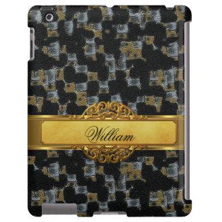 Elegant Classy Leather Look Black Gold iPad Cover