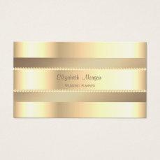 Elegant Classy Modern,Faux Gold Stripes,Pearls Business Card