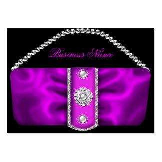 Elegant Classy Ornate Pink Silver Purse Profile Large Business Card