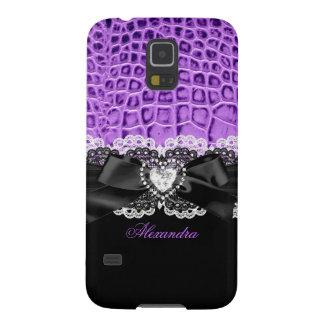 Elegant Classy Purple Black Animal Bow Heart Lace Case For Galaxy S5