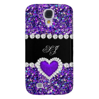 Elegant Classy Purple Black Glitter Look 2 Galaxy S4 Cover