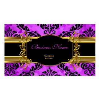 Elegant Classy Purple Gold Damask Floral Profile Business Card