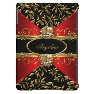 Elegant Classy Red Black Gold Damask Jewel 2 iPad Air Case