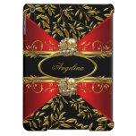 Elegant Classy Red Black Gold Damask Jewel 2 iPad Air Cases