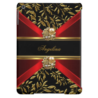 Elegant Classy Red Black Gold Damask Jewel Cover For iPad Air