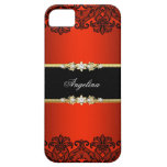 Elegant Classy Regal Red Lace Black Gold iPhone 5 Cover