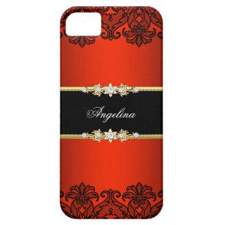 Elegant Classy Regal Red Lace Black Gold iPhone SE/5/5s Case