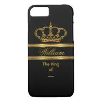 Elegant Classy Royal King Gold Black Crown 3 iPhone 8/7 Case