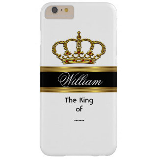 Elegant Classy Royal King Gold Black White Crown Barely There iPhone 6 Plus Case