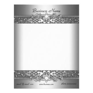 Elegant Classy Silver Damask Embossed Jewel Letterhead