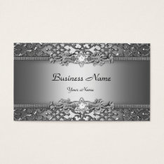 Elegant Classy Silver Gray Damask Embossed Look Business Card at Zazzle