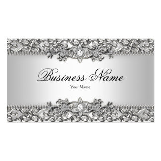 Elegant Classy Silver Gray Damask Updated Double-Sided Standard Business Cards (Pack Of 100)