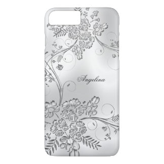 Elegant Classy Silver Metal Floral Look iPhone 8 Plus/7 Plus Case
