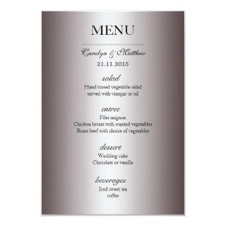 Elegant Classy Silver Wedding Menu Card