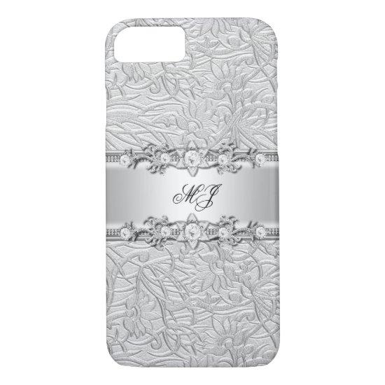 Elegant Classy Silver White Damask iPhone 7 Case