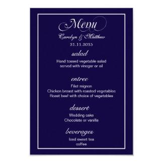 Elegant Classy Simple Navy Blue Wedding Menu Card