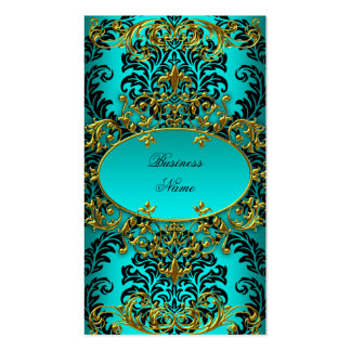 Elegant Classy Teal Blue Gold Damask Floral Double-Sided Standard Business Cards (Pack Of 100)