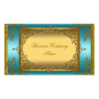 Elegant Classy Teal Blue Gold Elite Double-Sided Standard Business Cards (Pack Of 100)