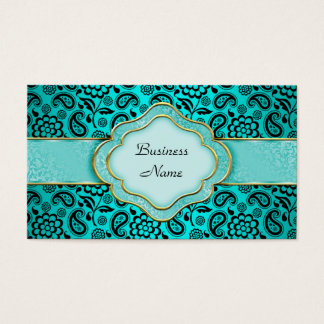 Elegant Classy Teal Blue Paisley Floral Damask Business Card