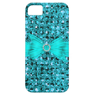 Elegant Classy Teal Blue silver Glitter Look iPhone 5 Covers