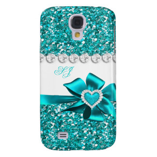 Elegant Classy Teal Glitter Look Monogram Bow Samsung Galaxy S4 Covers