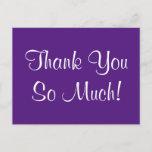 "[ Thumbnail: Elegant, Classy ""Thank You So Much!"" Postcard ]"