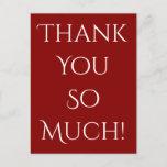 "[ Thumbnail: Elegant & Classy ""Thank You So Much!"" Postcard ]"
