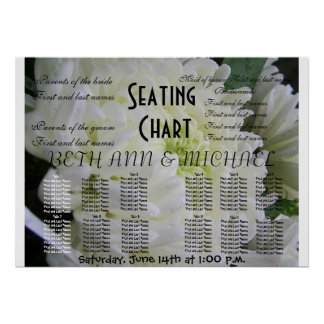 Elegant Classy White Floral Wedding Seating Chart Poster