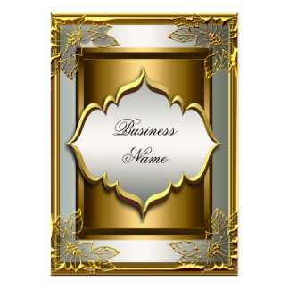 Elegant Classy Whte Black Old Gold Large Business Card