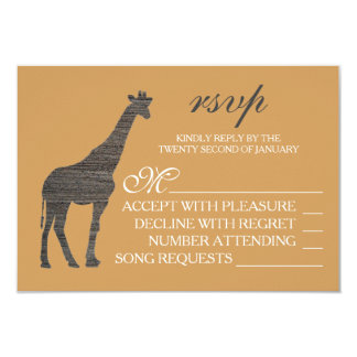 Elegant Clay Giraffe Wedding RSVP Card