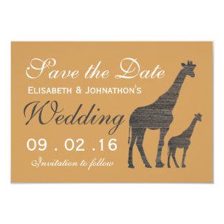 Elegant Clay Giraffe Wedding Save The Date Card